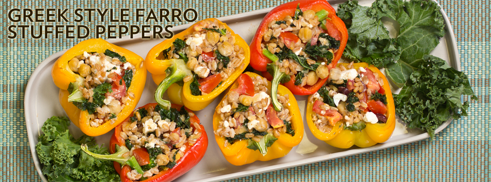 Greek Style Farro Stuffed Peppers